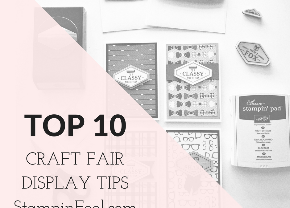 craft fair display of stamps and handmade cards in black and white