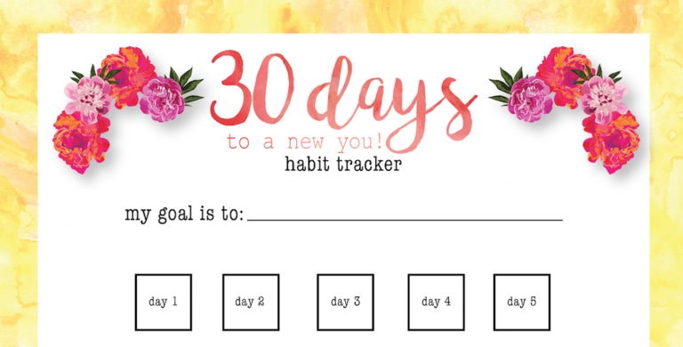 Whole30: 30 Day habit tracker Free Printable