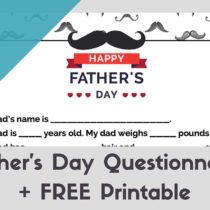 Free 2016 Father's Day gift idea from the kids: Father's Day Questionnaire + FREE Printable at StampinFool.com
