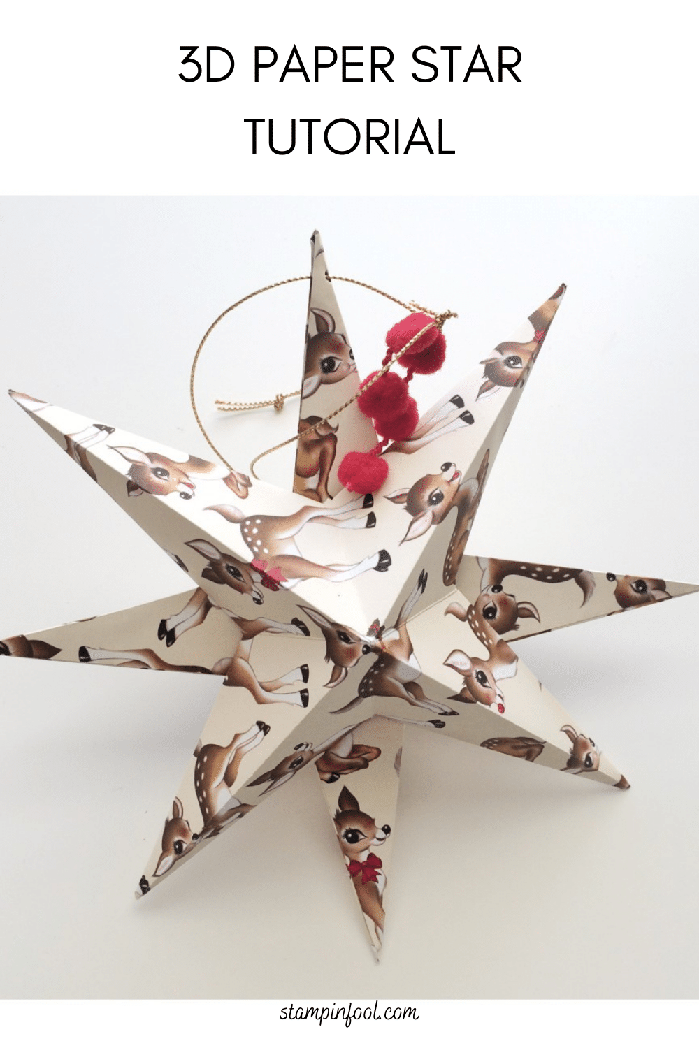 Step by step: How to Make a 3D Paper Star Christmas Ornament Craft