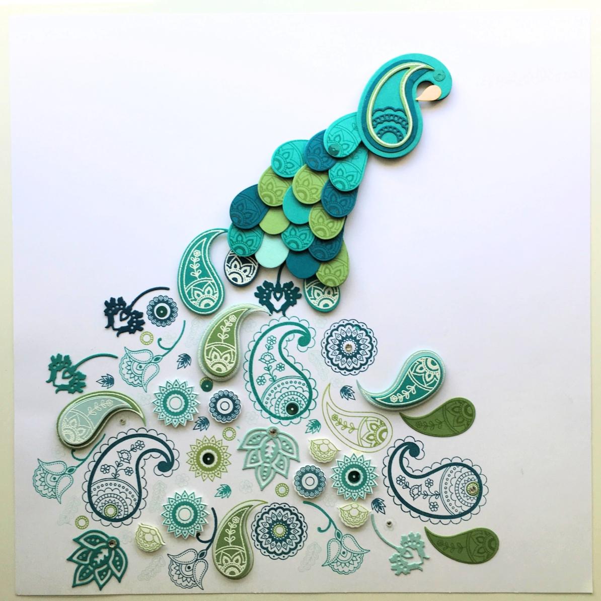DIY Peacock Craft: Stampin Up! Paisleys & Posies Peacock Art from StampinFool.com