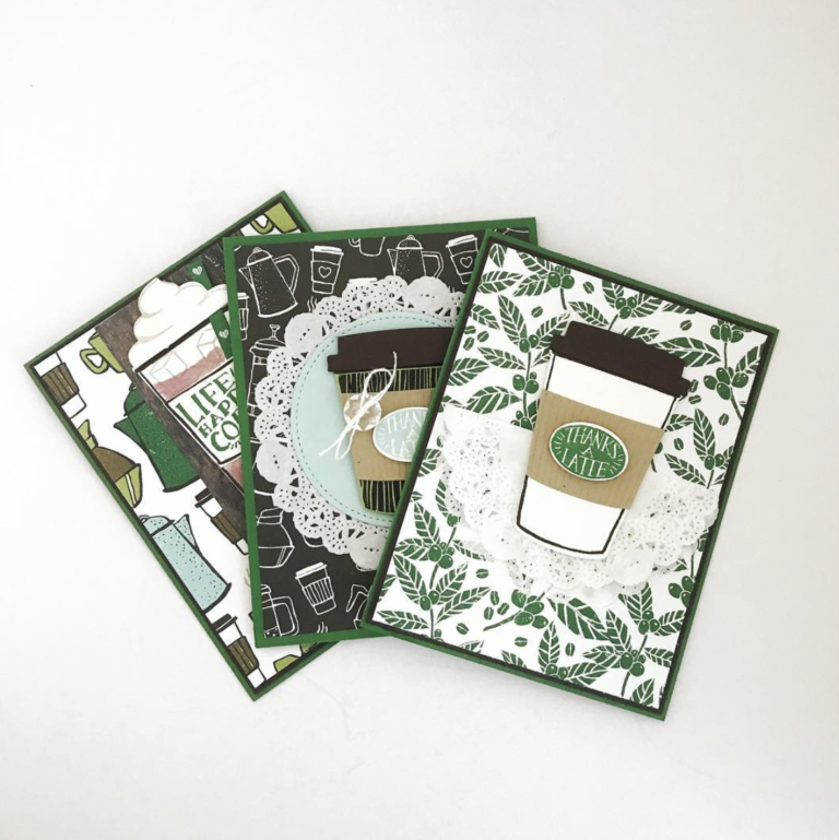 How to: Easy Coffee Themed Thank You Cards from StampinFool.com