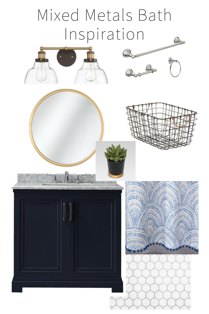 Guest Bathroom Update! Gold & Navy Bathroom Update - One Room Challenge from StampinFool.com