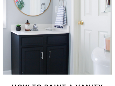 DIY Navy painted bathroom vanity for under $20 using General Finishes Paint from StampinFool.com