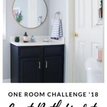 One Room Challenge: Guest Bath Reveal- Navy & Gold Painted Bathroom Vanity & Vinyl Floors!