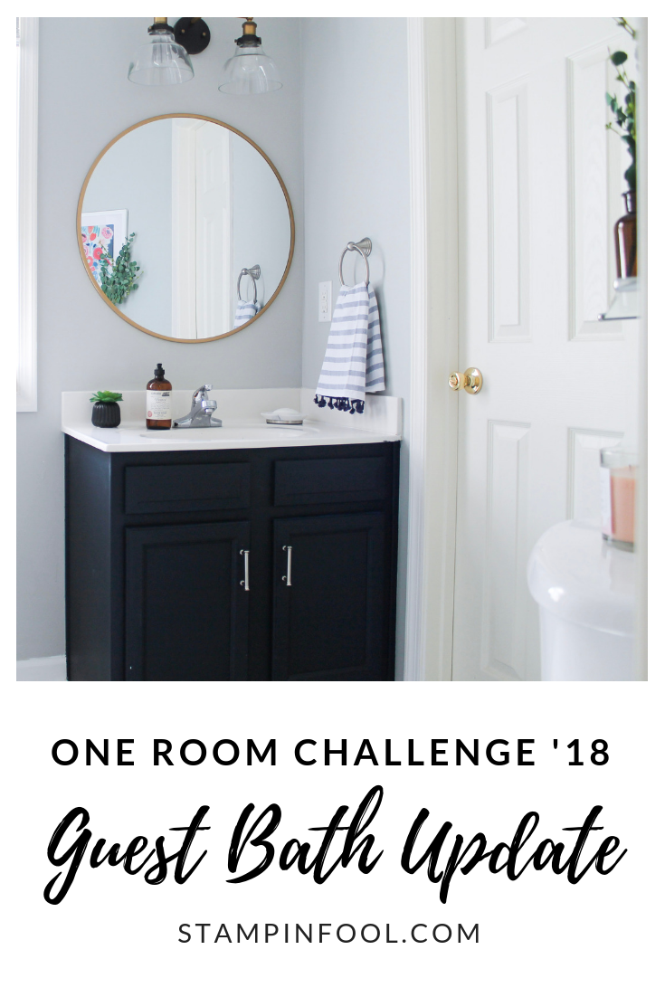 One Room Challenge: Guest Bath Reveal- Navy & Gold Painted Bathroom Vanity & Vinyl Floors!