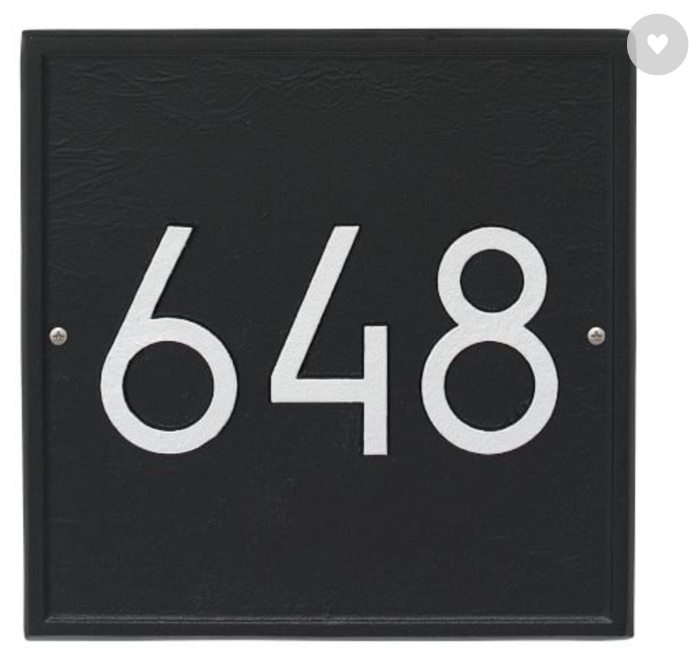 Black address plate with white numbers