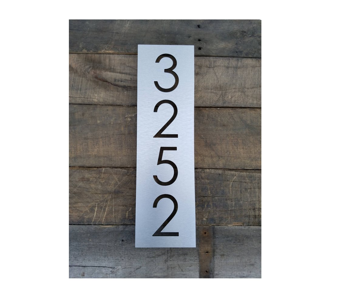 Vertical steel metal etched address number