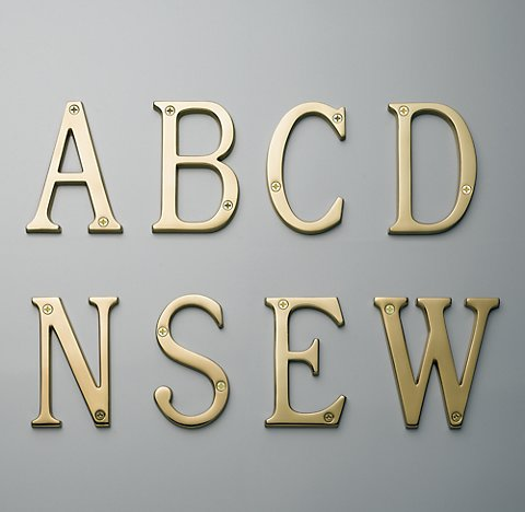 Restoration Hardware address directional letters in gold traditional font
