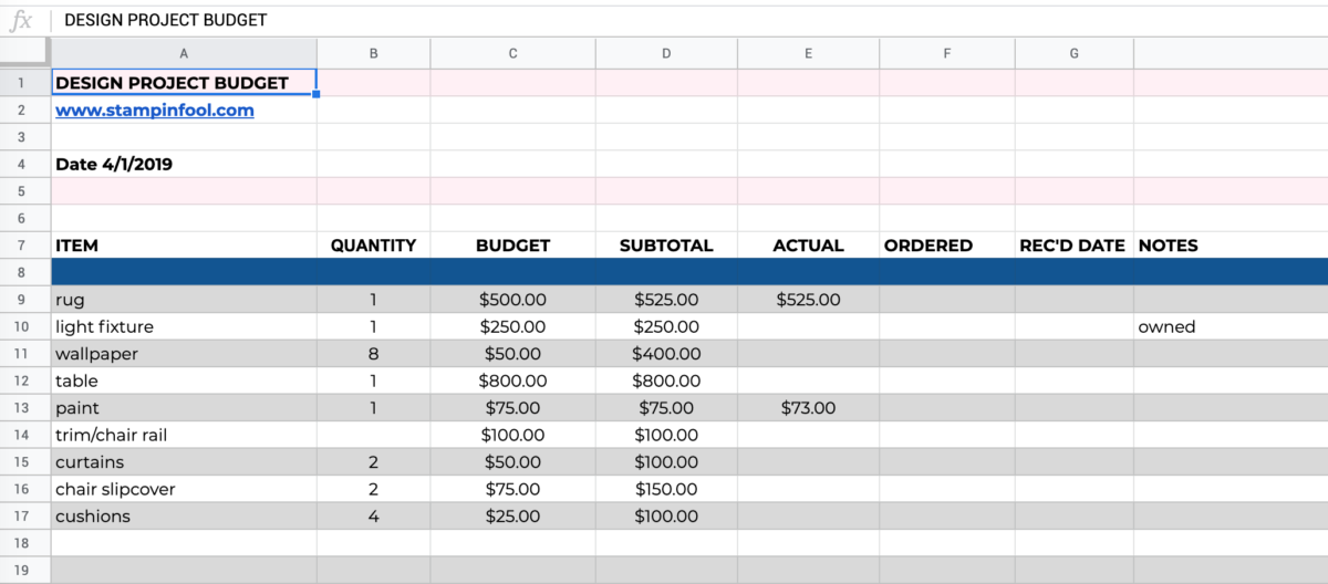 Screenshot of budget spreadsheet for home decor project