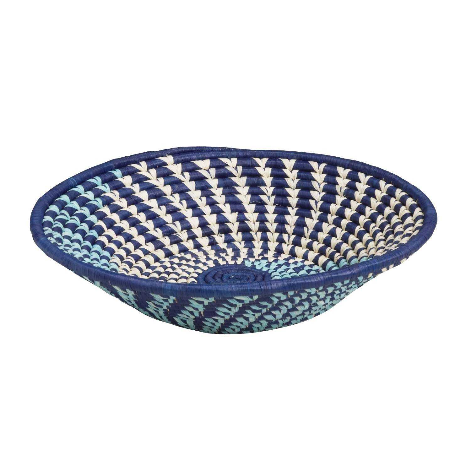 Blue and white woven Uganda bowl