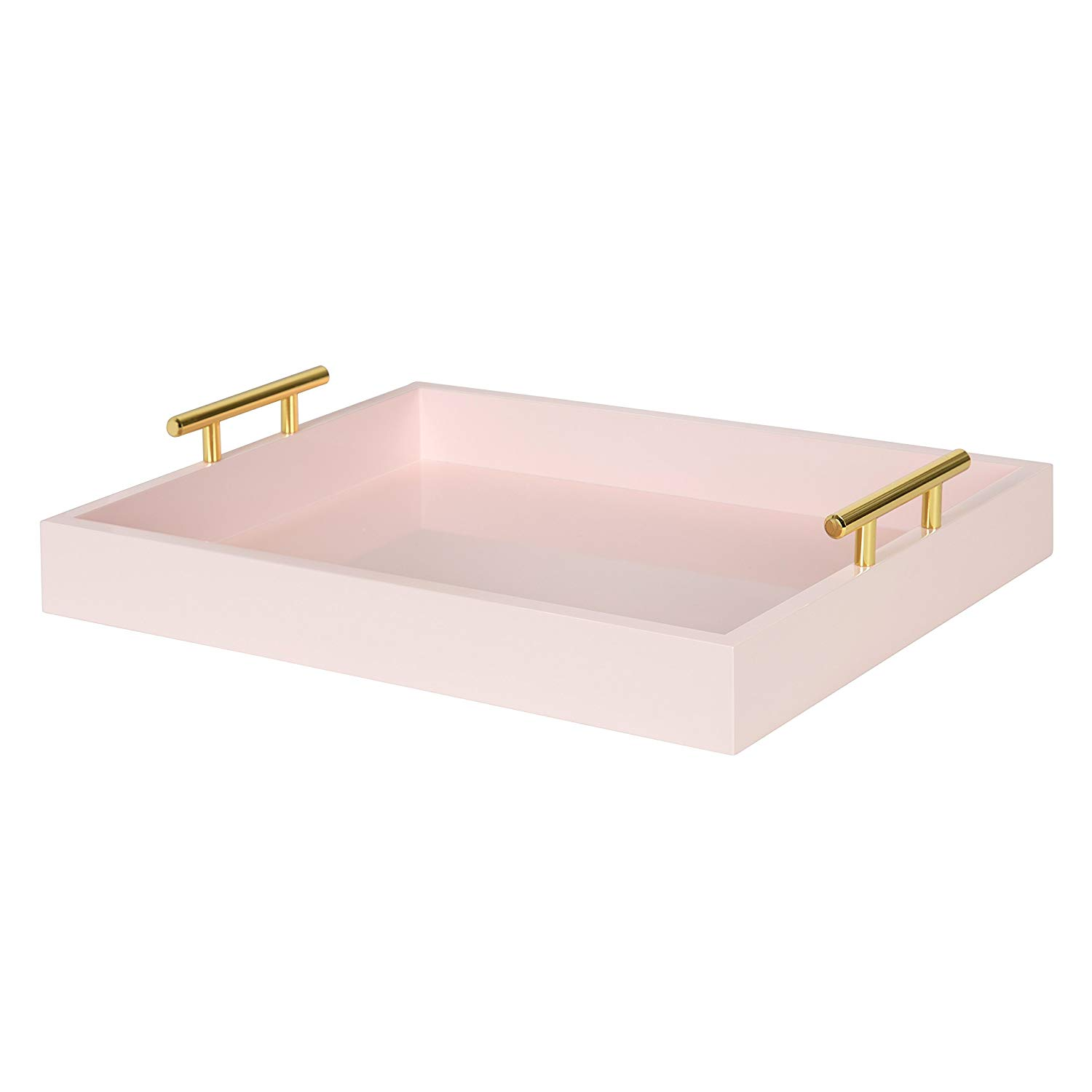 Pink tray with gold handles