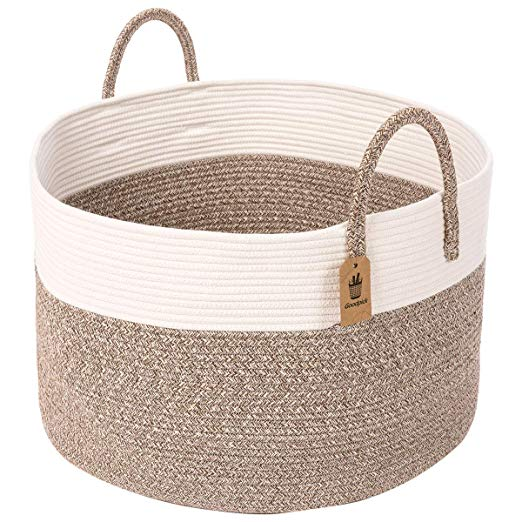 Traditional woven rope baskets are a great addition for toy storage or extra blanket storage in a living room. See 17 more of the best baskets and crates for home decor.