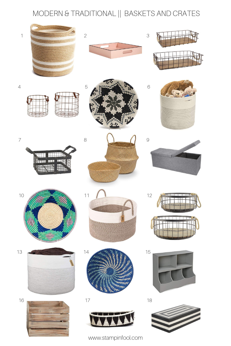 18 of the Best Basket and Crate home decor and storage pieces for modern, traditional, and farmhouse interiors from StampinFool.com.