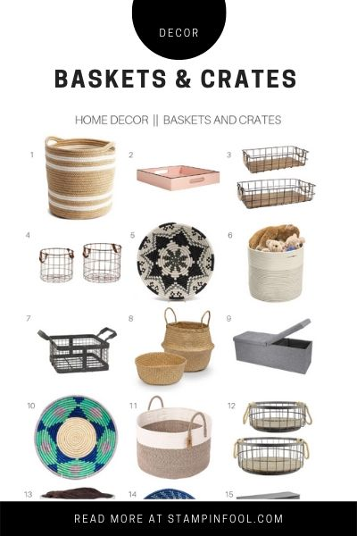Roundup of Baskets and Crates for home decor for the modern farmhouse or traditional home. See the best wire baskets, woven baskets, and Uganda baskets.