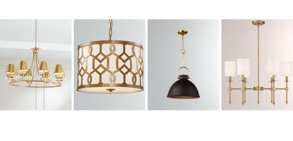 four gold decorative chandelier lighting