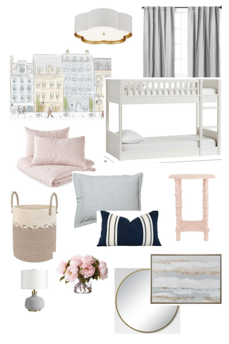Inspiration Board for pink and blue children's bedroom