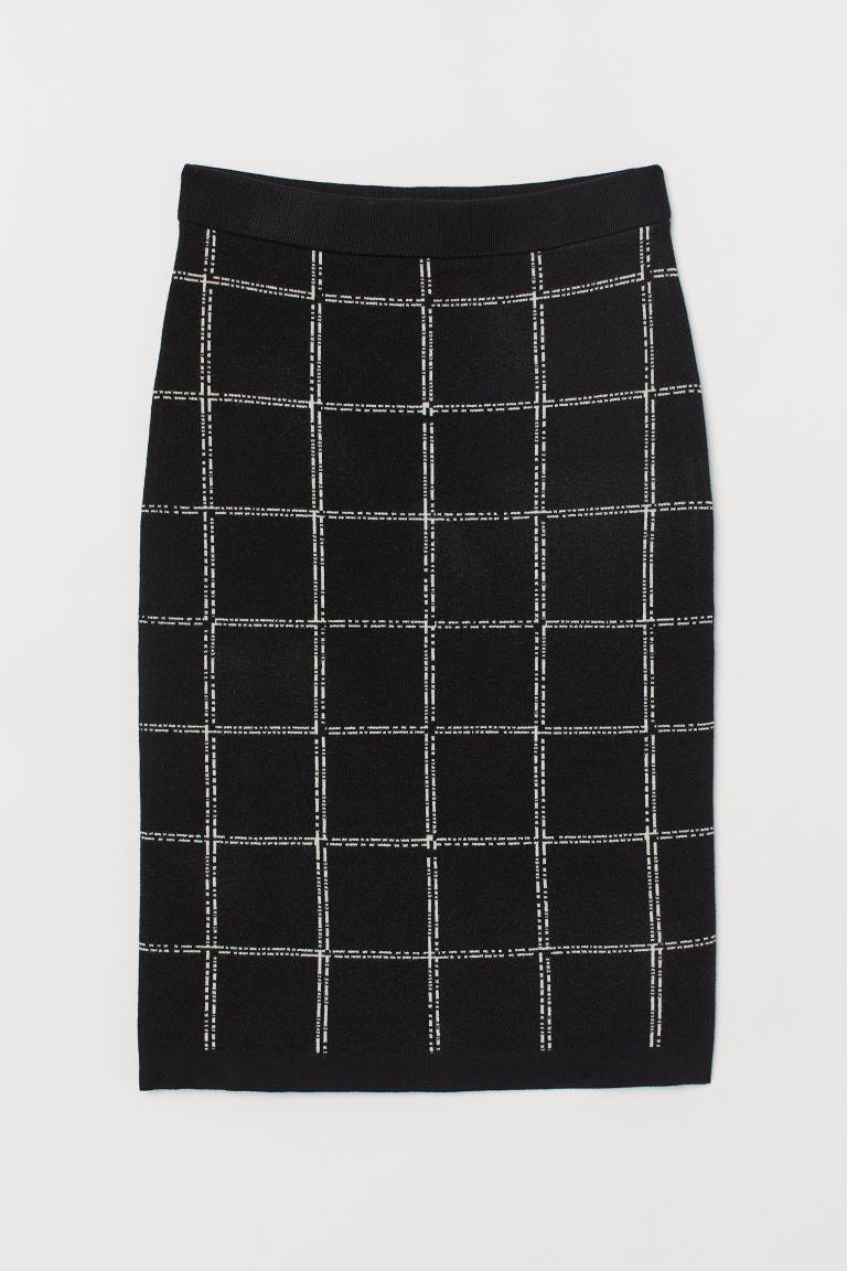 black windowpane pencil skirt from H&M