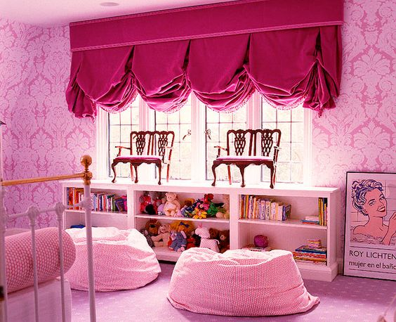 Pink room with Balloon Window treatments
