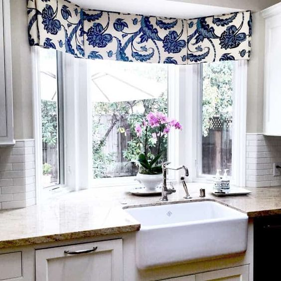 Blue floral valance to show modern window treatments
