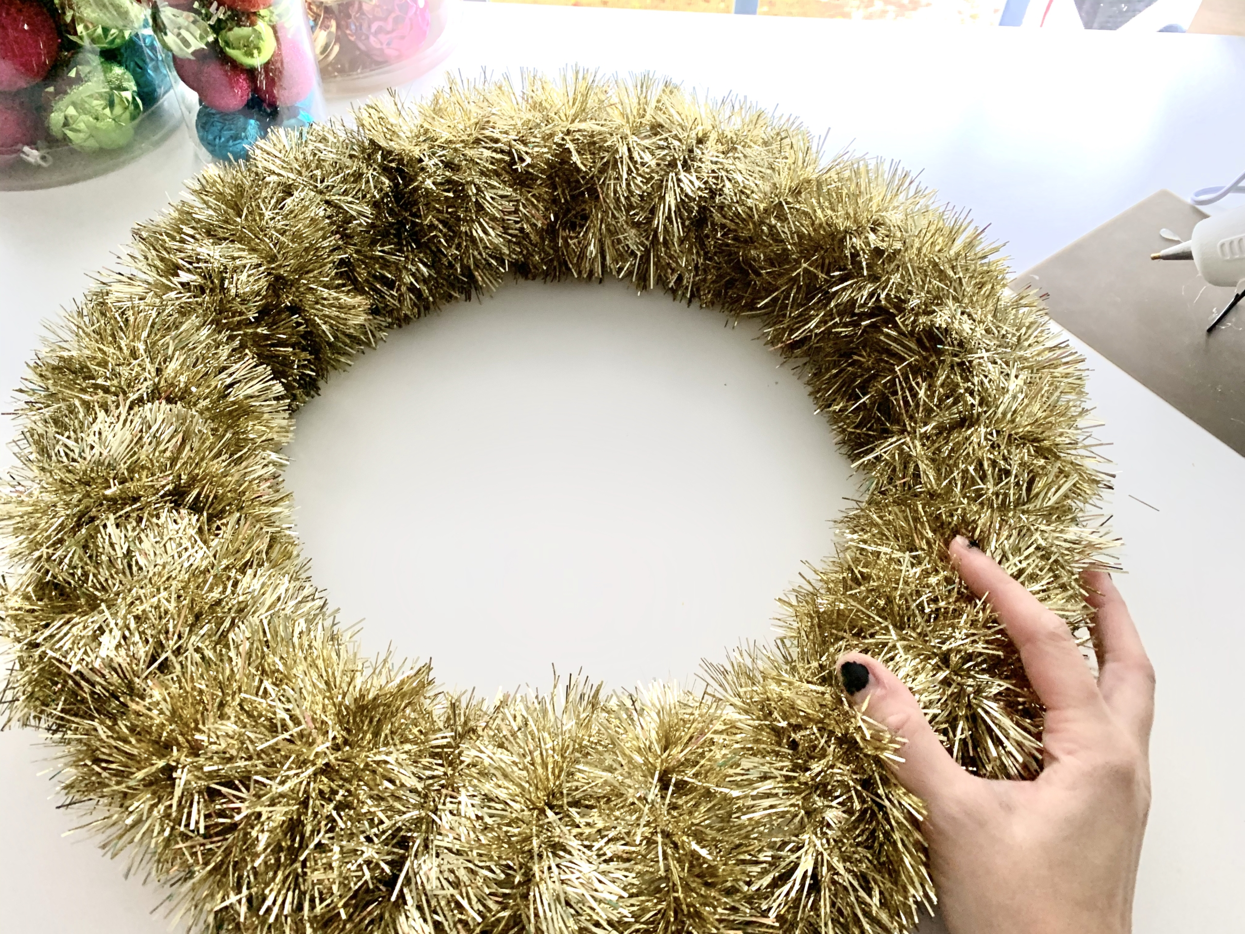 How to Make A DIY Christmas Ornament Wreath from StampinFool.com