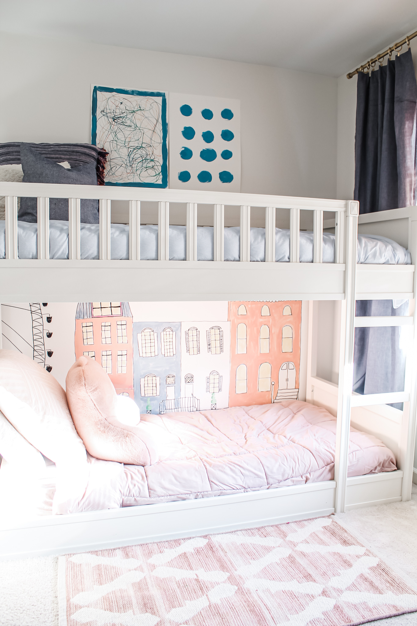 Pink & Blue Children's Bedroom + Wall Mural