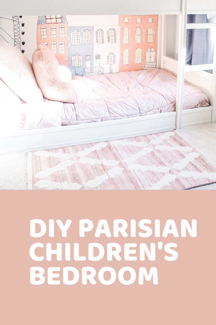 Pink & Blue Children's Bedroom + Wall Mural + Clear Acrylic Bookshelves