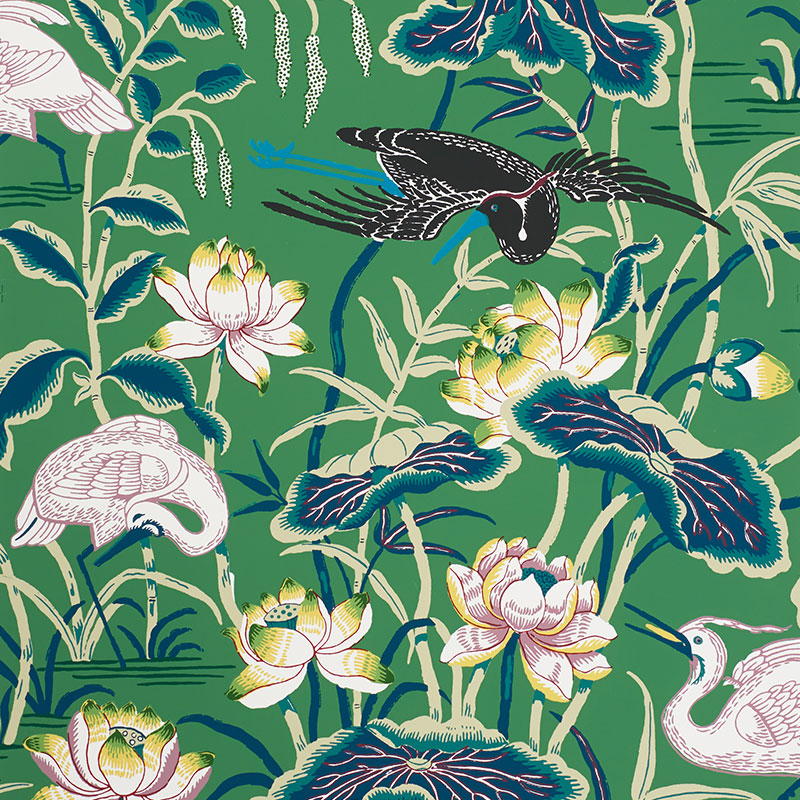 Schumacher LOTUS GARDEN jade green wallpaper