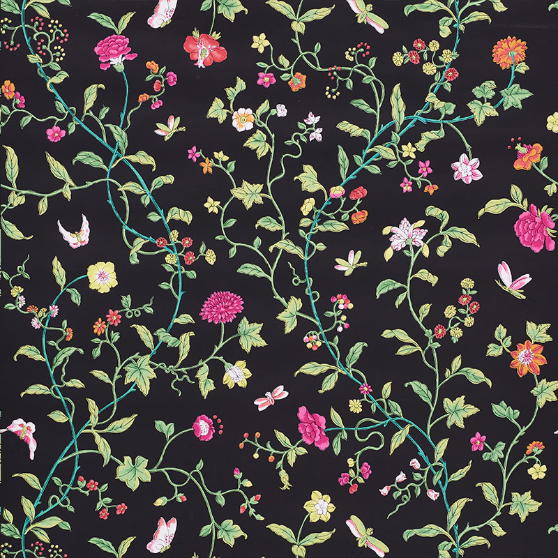 Black and pink floral Schumacher wallpaper in 2020