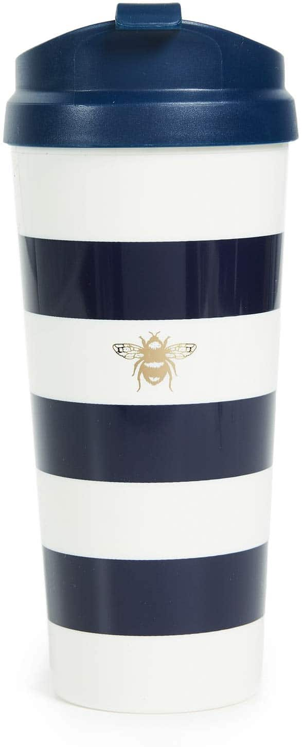 2020 Mother's Day Gift Guide: Kate Spade New York Insulated Thermal Travel Mug Tumbler, 16 Ounces, Navy Stripe (Bee)