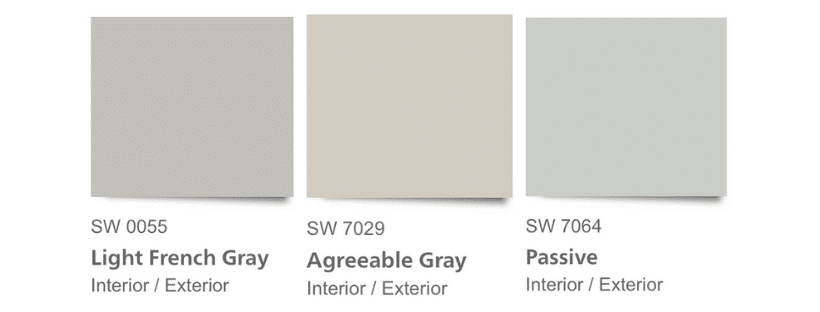 SW Light French Gray is cooler and cleaner (purer) than SW Agreeable Gray in the graphic comparison of gray paint colors.