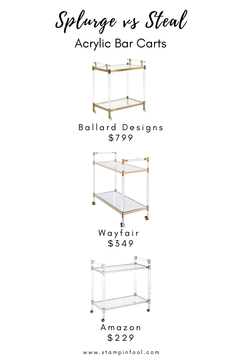 Looking for the perfect gold and acrylic bar cart? Look no further, I've got you covered with these affordable bar carts at every price point.