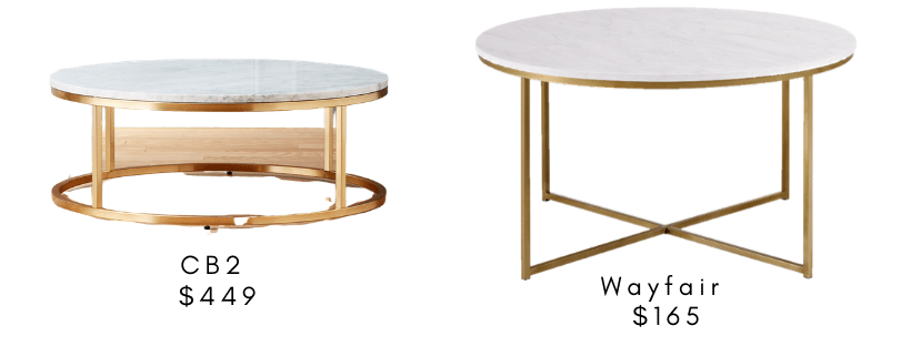Splurge v Steal Coffee Tables: Find a great Pottery Barn Lorraine or Serena and Lily coffee table dupe in this post of splurge coffee tables. Marble top gold coffee table dupe