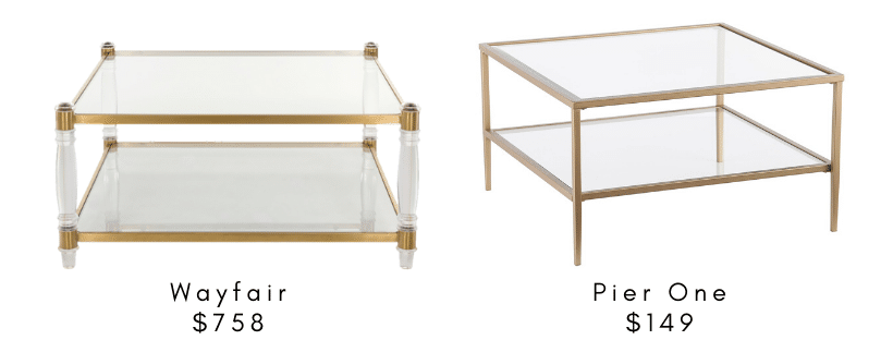 Splurge v Steal Coffee Tables: Find a great Pottery Barn Lorraine or Serena and Lily coffee table dupe in this post of splurge coffee tables.