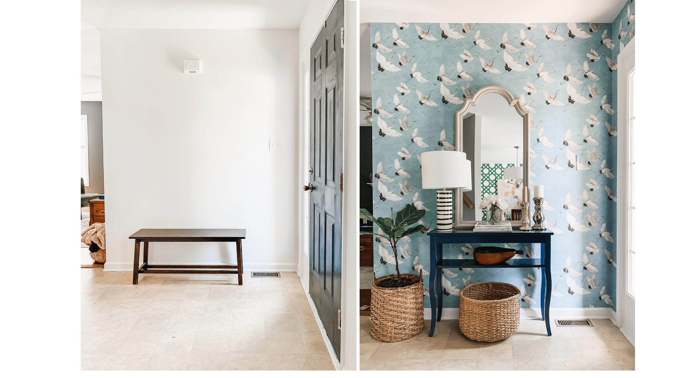 Bold, blue crane wallpapered entryway design