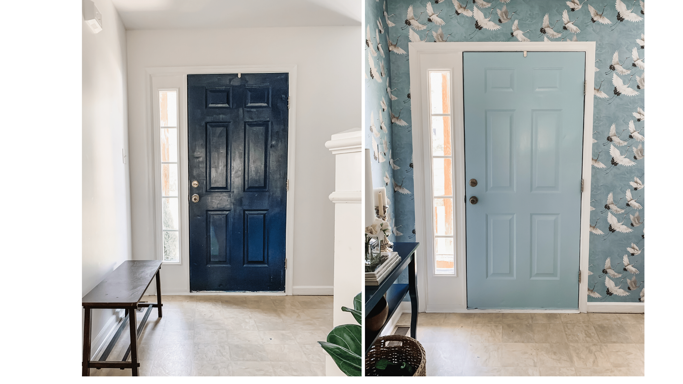Bold, blue crane wallpapered entryway design with Sherwin Williams Stream painted door