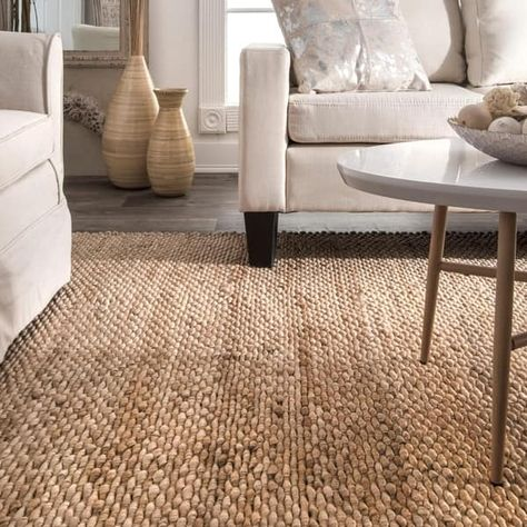Warm Up Gray Wood Flooring with a Natural Woven Rug