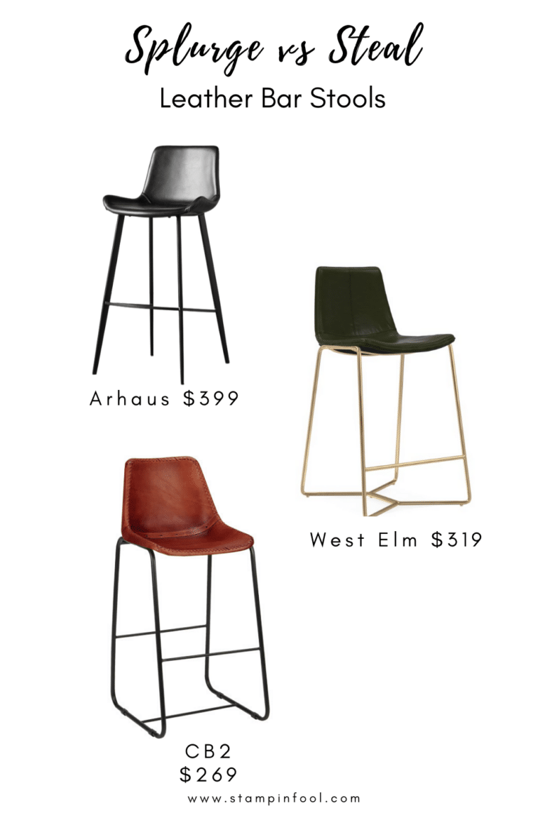 Splurge vs Steal : Leather Bar Stools. Use this guide to budget-friendly leather bar and counter stools for your kitchen island. Pick the color and leg finish that fits your style.