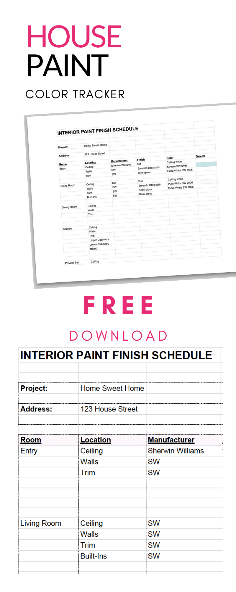 Whole Home Paint Planner and Tracker Worksheet + Paint Finish Schedule