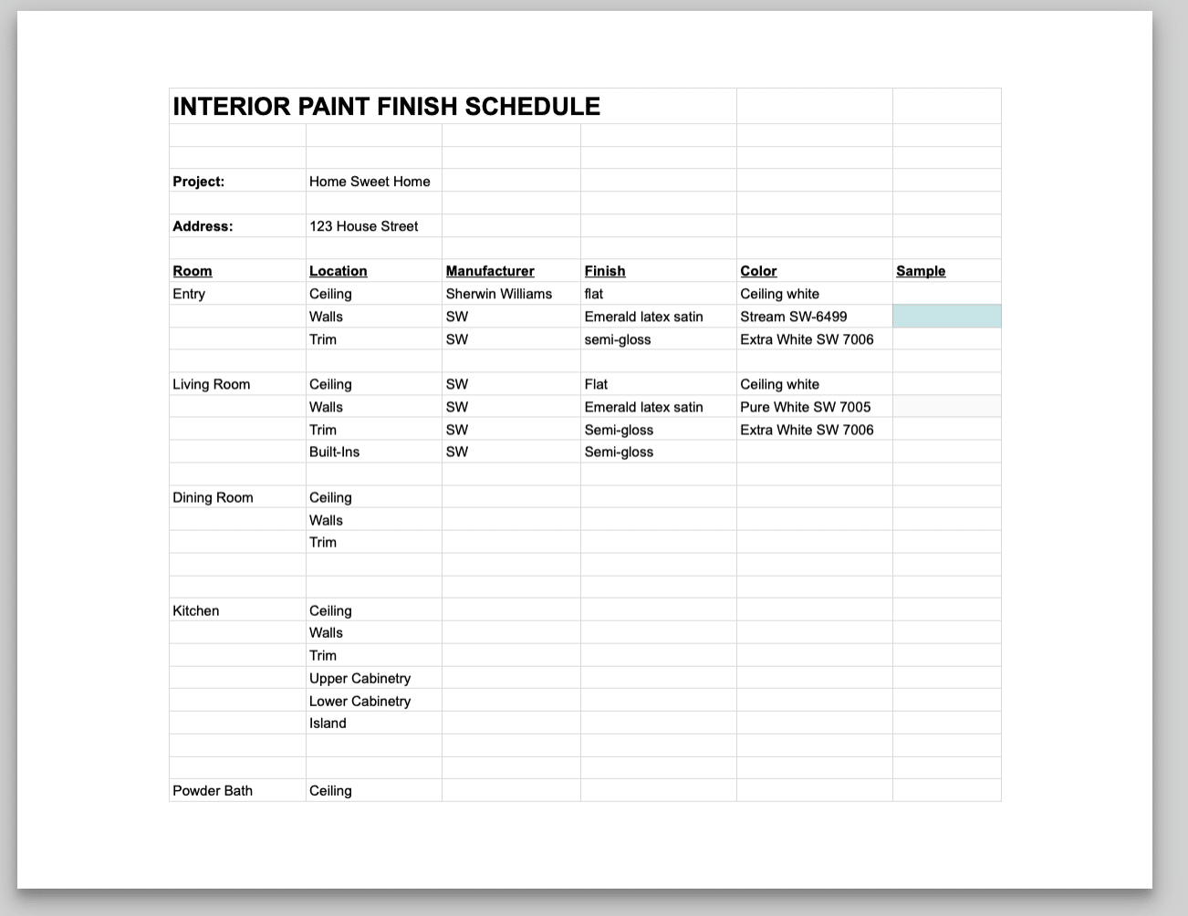 Interior Paint Finish Schedule Examples
