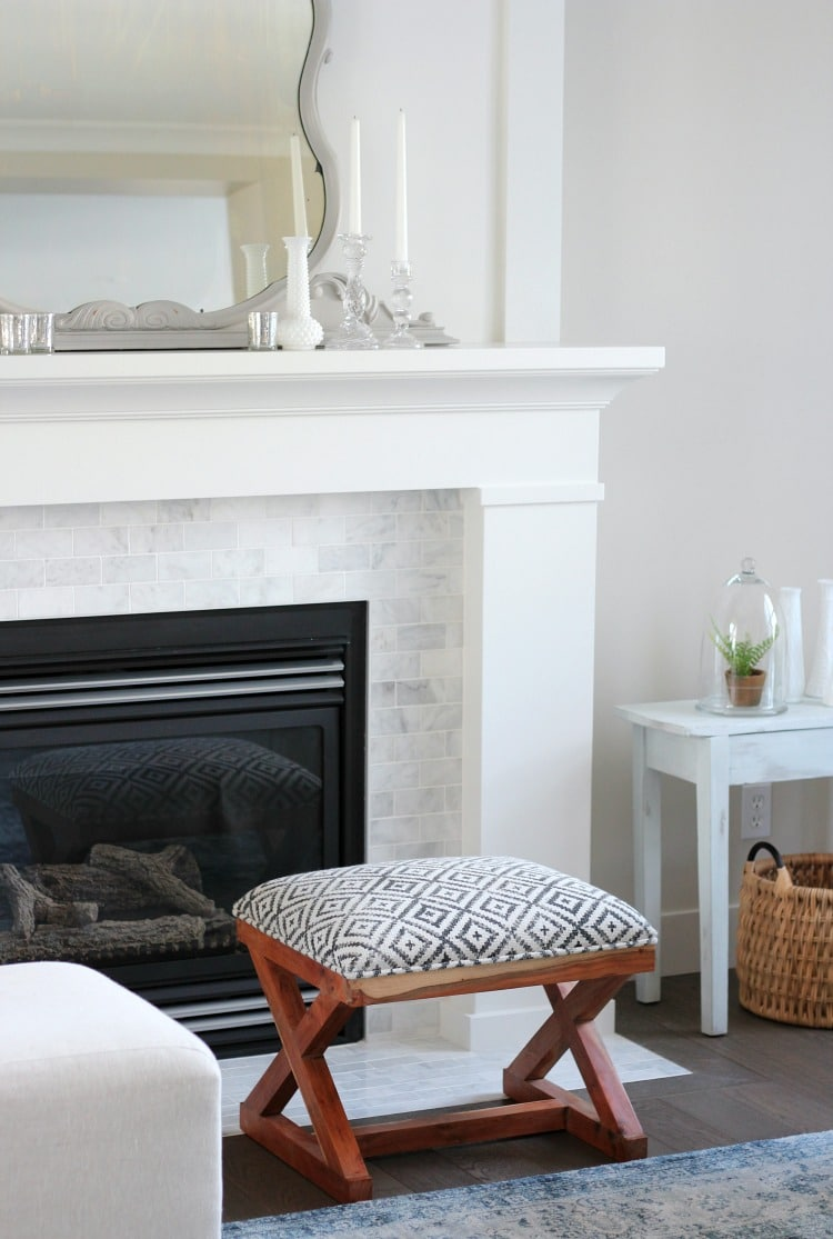 Benjamin Moore White Dove Paint on Fireplace trim