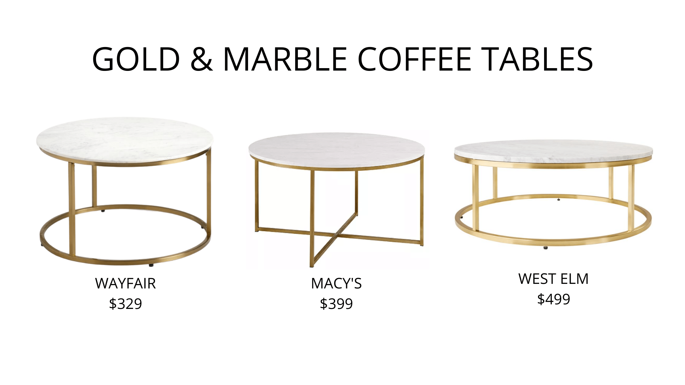Gold & Marble Round Coffee Tables