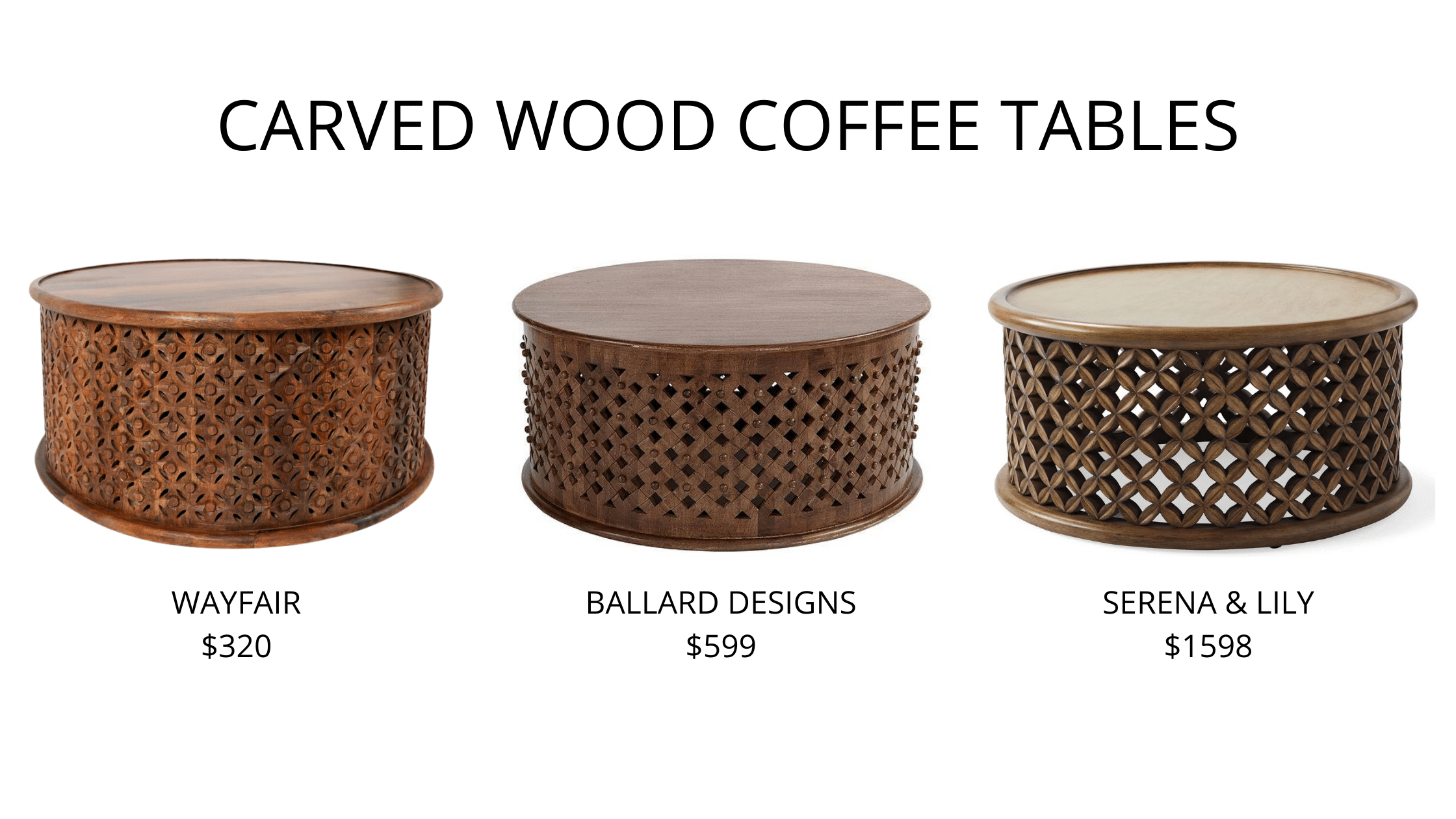 Wood Carved Round Tables