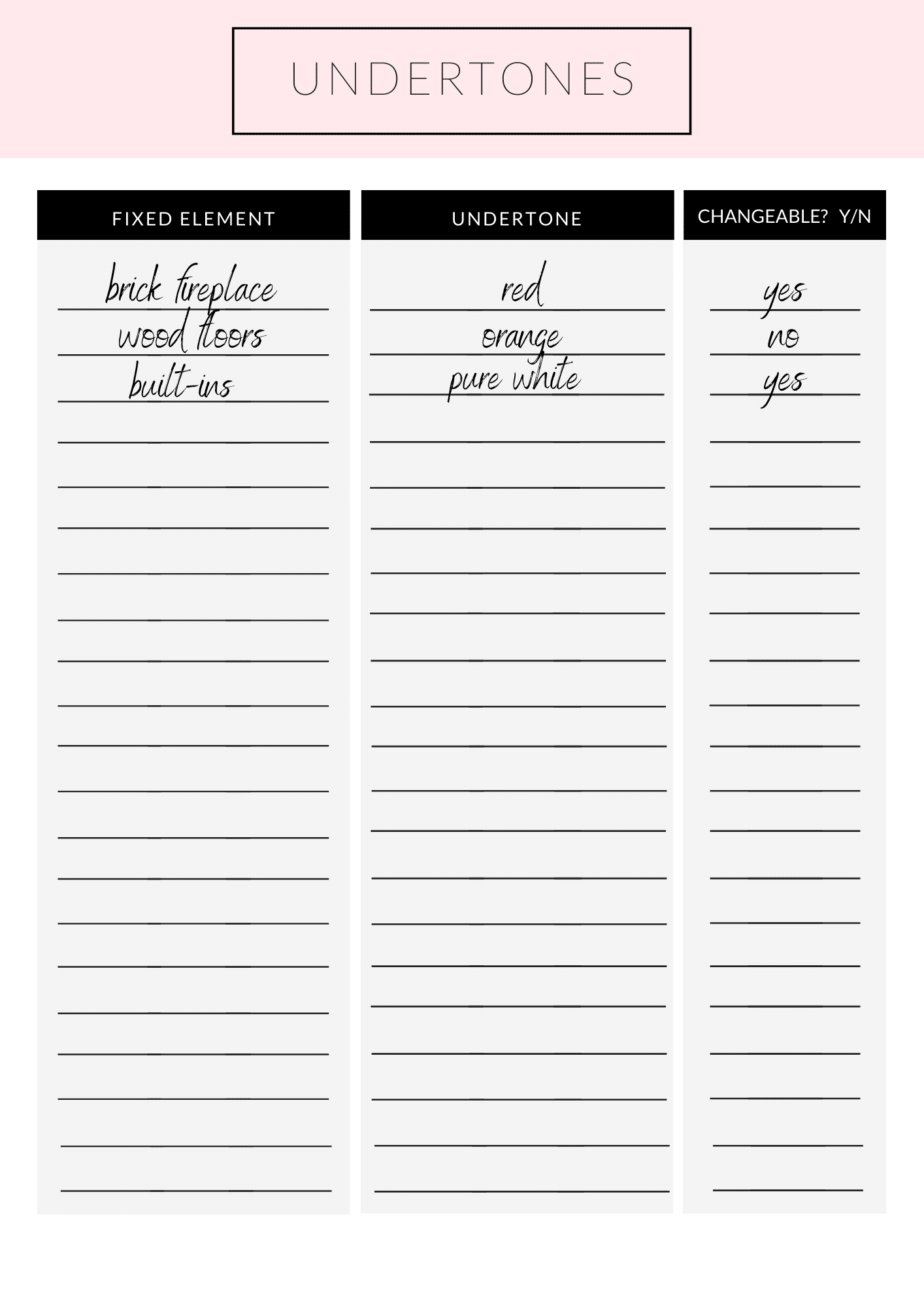 Undertone worksheet for understanding the undertones already in your home like on a brick fireplace, wood floors and builtins.
