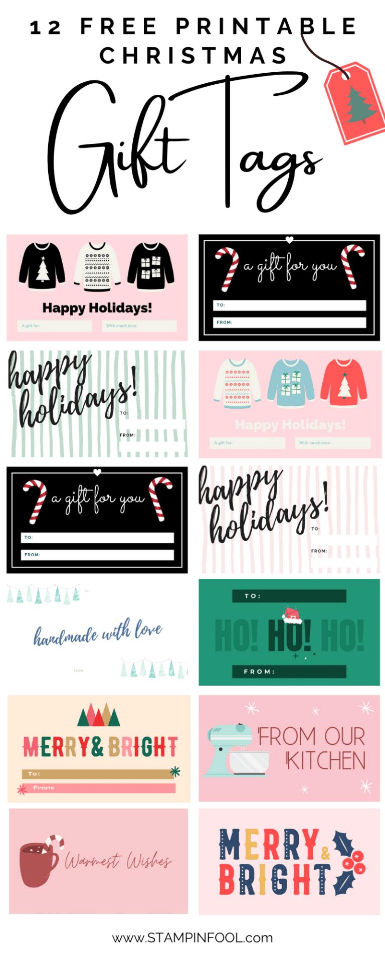 12 FREE Printable Christmas Gift Tags