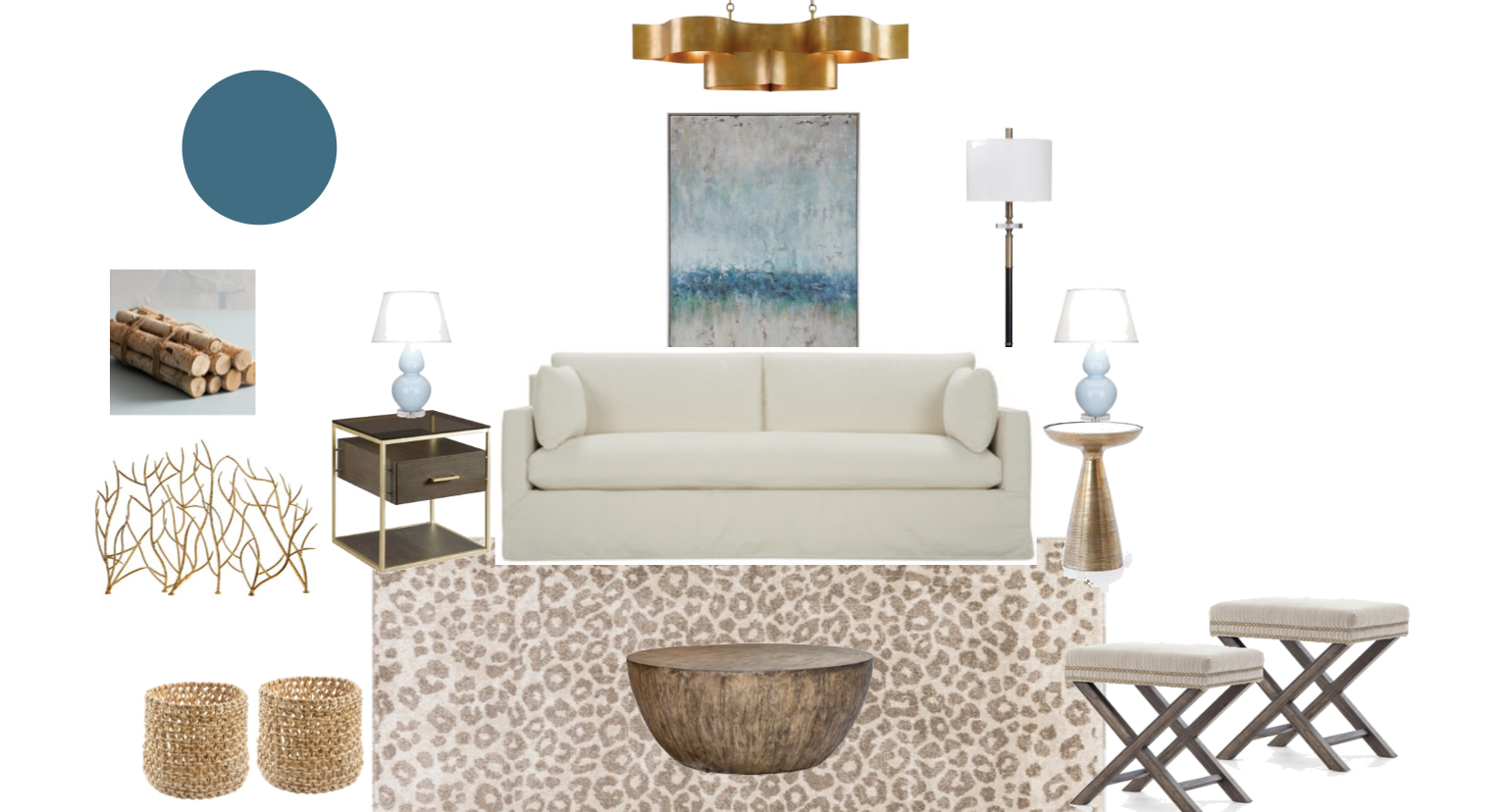 How to: Blue Family Room Mood Board