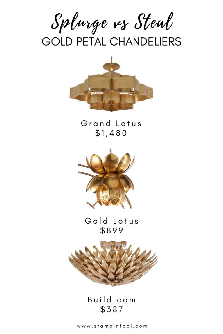 Affordable Gold Flower Petal Chandelier