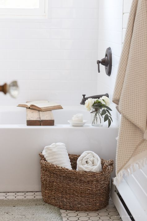Woven Floor Basket for bath towel storage and decor