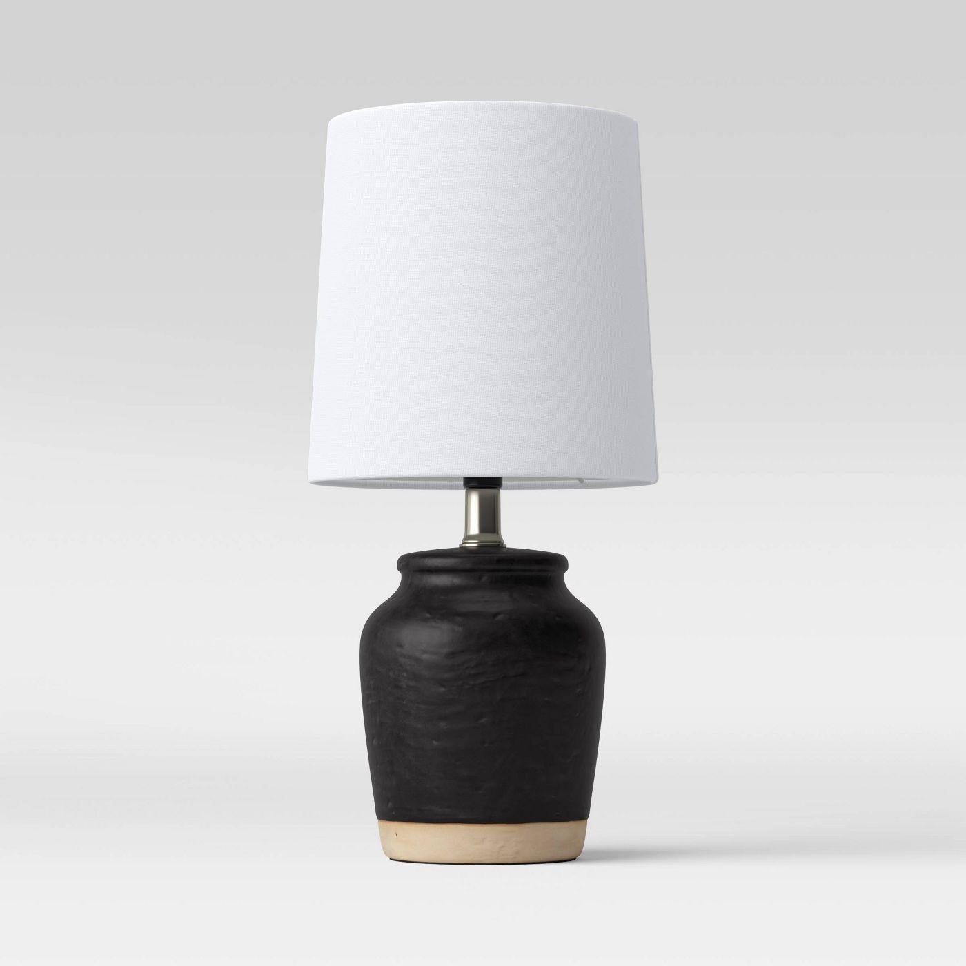 Black Pottery Ceramic Mini Lamp - Threshold™