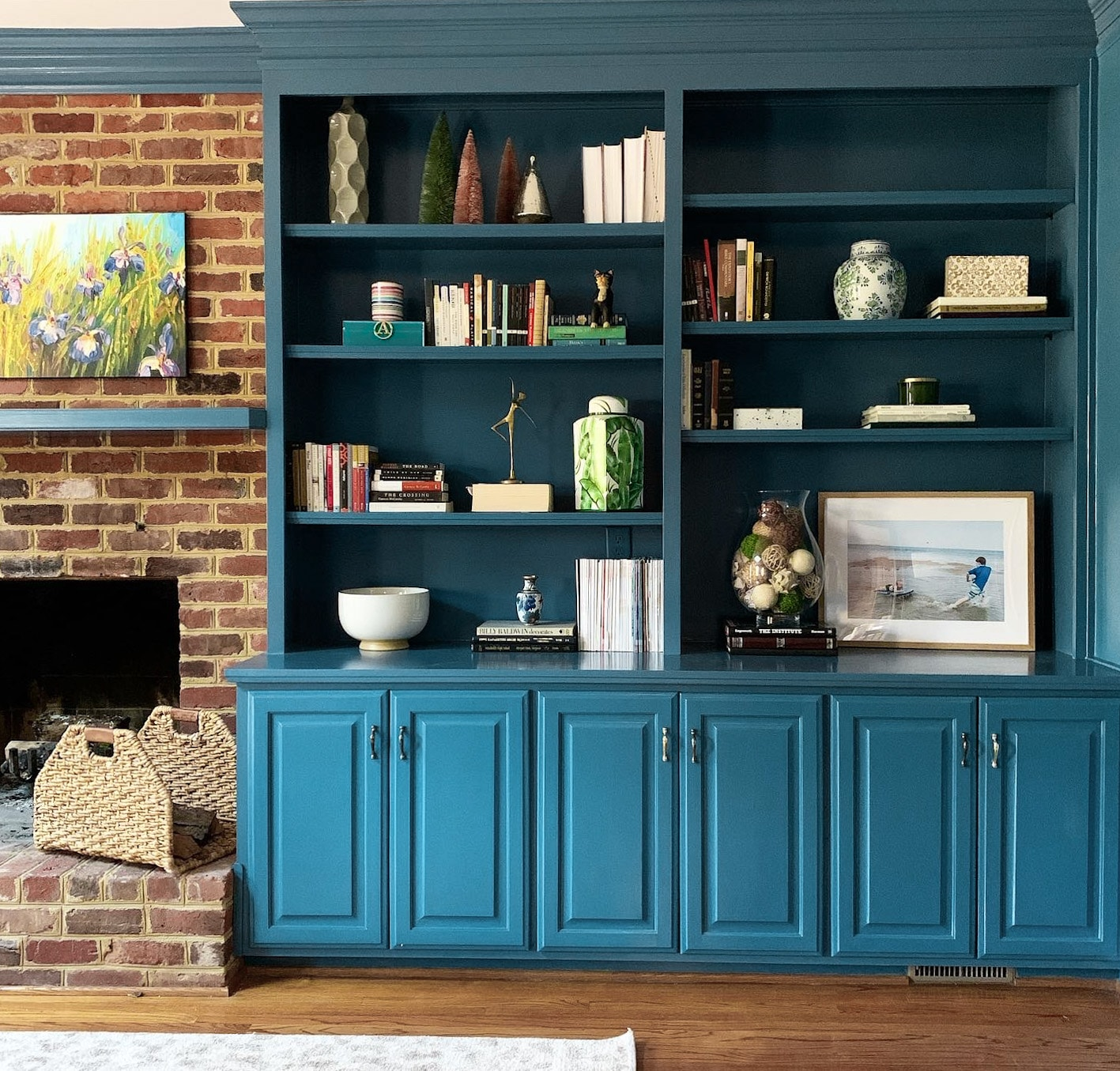 Blue Living Room Built Ins + Furniture Layout Ideas